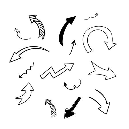 Insieme di vettore delle frecce di doodle disegnato a mano