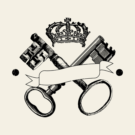Keys and crown badge vector Foto de archivo - 115859258