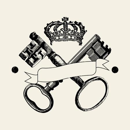 Keys and crown badge vector