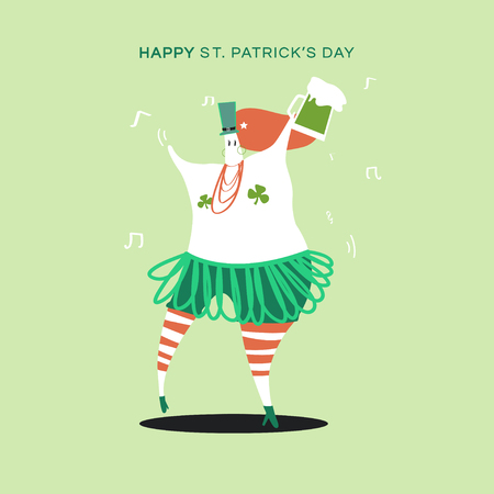 Happy St. Patrick's Day dancing character vector Illustration
