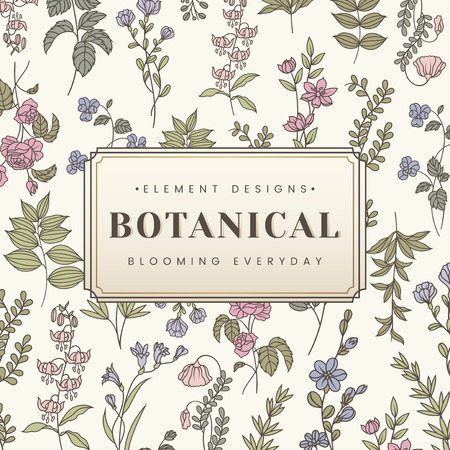 Botanical element design label vector