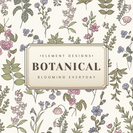 Botanical element design label vector