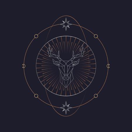 Geometric deer mystic symbol vector