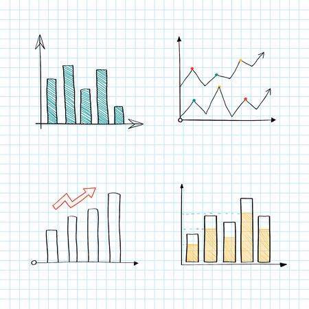 Positive line graph and bar chart vectors Vektoros illusztráció