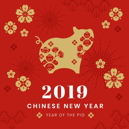 Chinese new year 2019 card 向量圖像