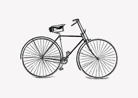 Vintage bicycle engraving vector