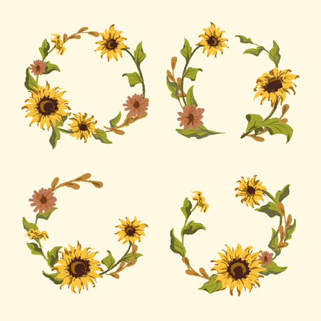 Sunflower round frame badges vector set