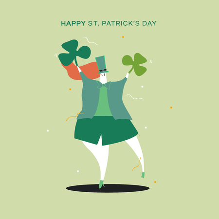 Happy St. Patrick's Day dancing character vector Çizim