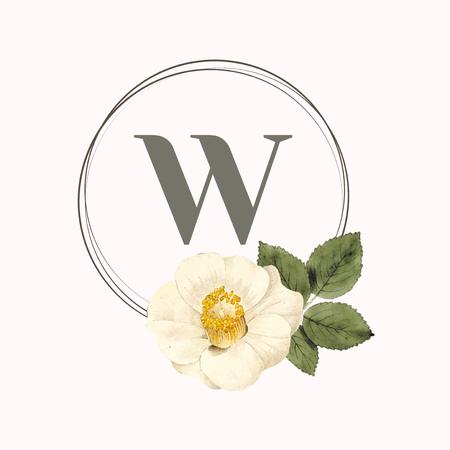 Floral round frame design vector