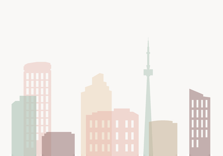 Pastel silhouette cityscape background vector 向量圖像