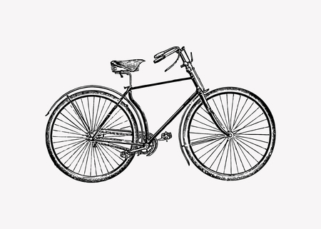 Vintage two wheel bicycle engraving vector  イラスト・ベクター素材