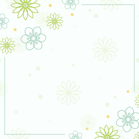 Green flower pattern with a white background vector