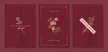 Valentine's day floral card vector design set
