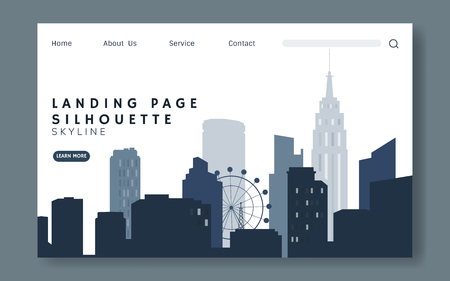 Silhouette cityscape website template vector Illustration