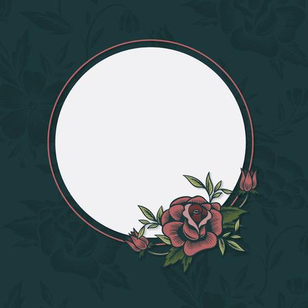 Floral circle framed banner vector