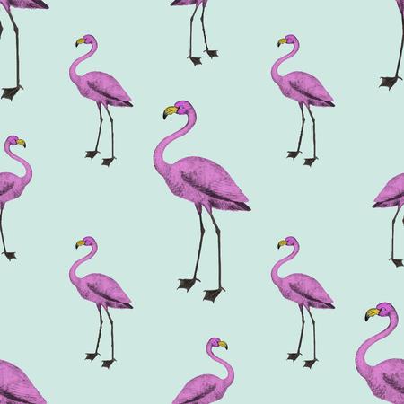 Cute pink flamingo background design