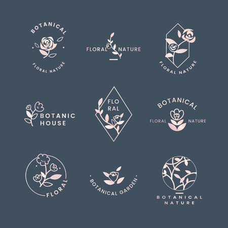 Ensemble de vecteurs de badges roses floraux botaniques