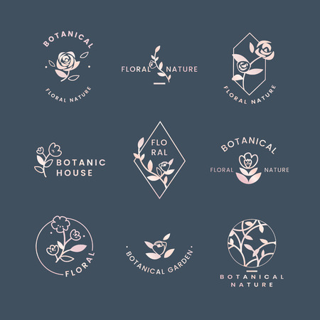 Botanical floral rose badges vector set Illustration