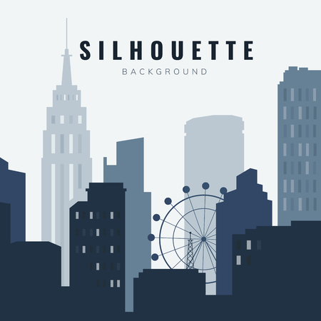 Bule silhouette cityscape background vector