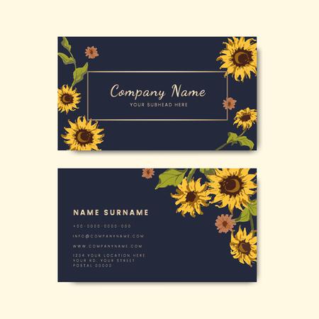 Business card templates with decorative sunflower design 版權商用圖片 - 115860432