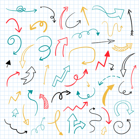 Hand-drawn doodle arrows vector set 写真素材 - 115860446