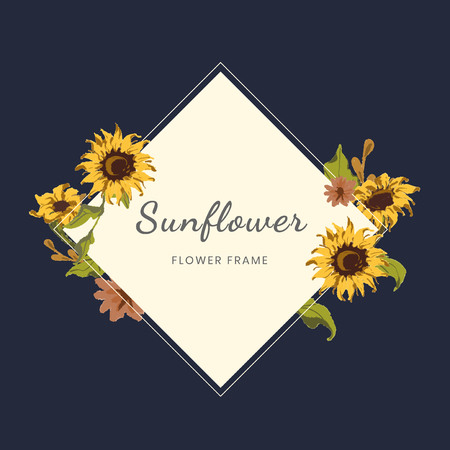 Sunflower square framed badge vector