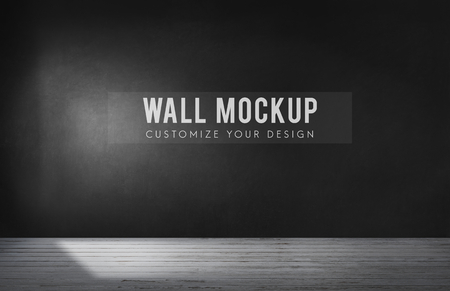 Empty room with a black wall mockup