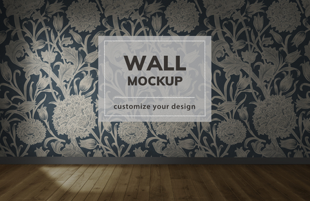 Empty room with a floral wall mockup