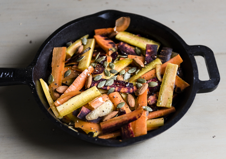 Mixed carrots and turnips in a sauce pan