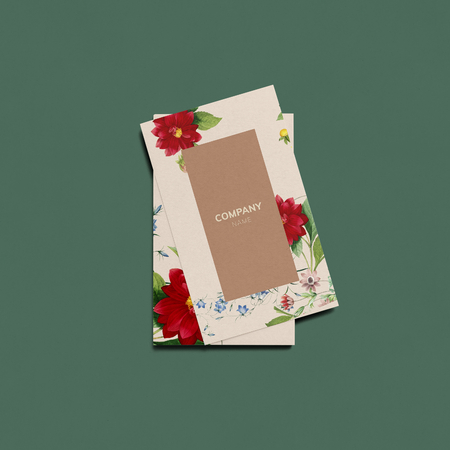Floral business card template mockup 版權商用圖片