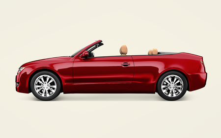Side view of a red convertible in 3D 스톡 콘텐츠