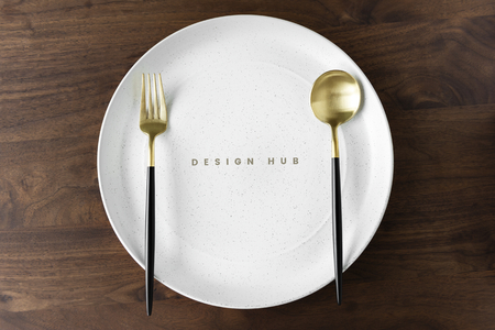 With plate mockup on a wooden table