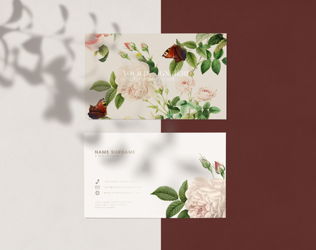 Floral business card template mockup Stock Photo