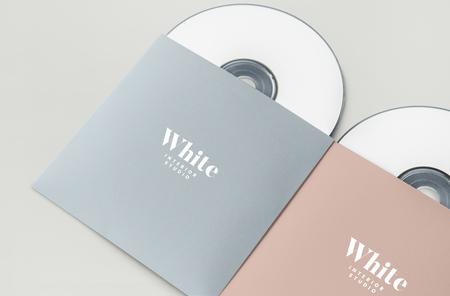 Werbematerial cd paket mockup