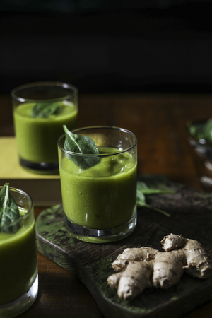 Vegan spinach and ginger smoothie drink