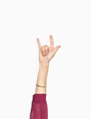 Hand with love expression gesture Foto de archivo - 115869701