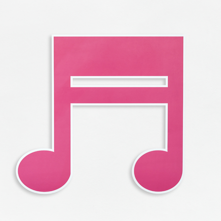 Pink music note icon isolated