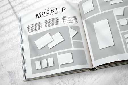 Magazine layout mockup on the floor