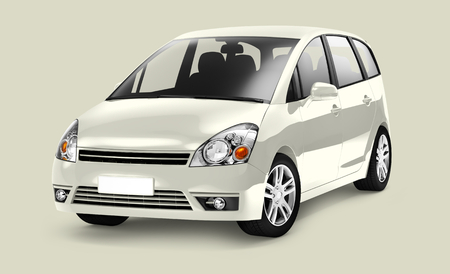 Side view of a ivory minivan in 3D Stock fotó - 115870250