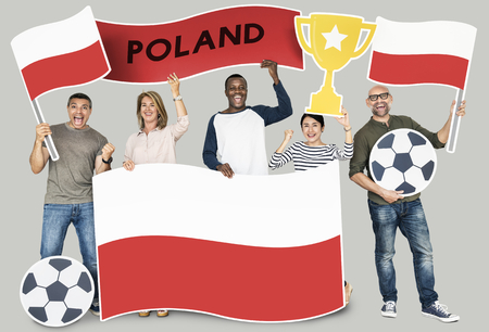 Diverse football fans holding the flag of Poland
