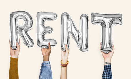 Silver gray alphabet balloons forming the word rent Standard-Bild - 115872071