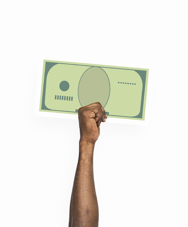 Hand holding paper money clipart Stock Photo