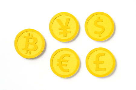 World international golden coin currencies Stock Photo