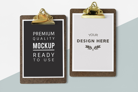 Clipboard with a document mockup Stock Photo
