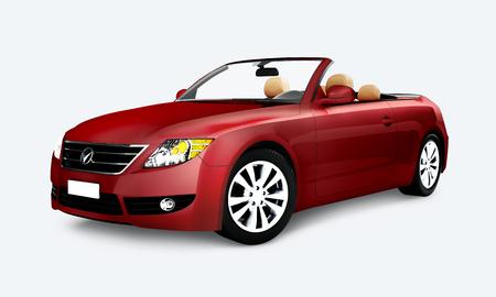 Seitenansicht eines roten Cabrios in 3D