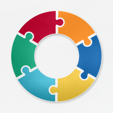 Jigsaw pieces connected in a round shape 写真素材 - 115928930