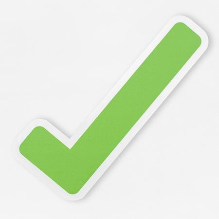 Icône verte coche droite isolée