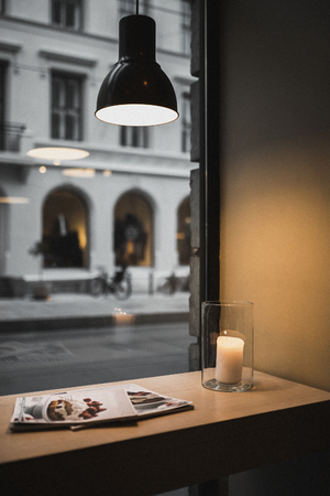 Warmth cafe on a dull day in Oslo 스톡 콘텐츠