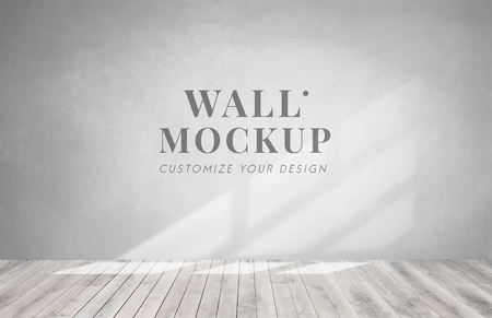Empty room with a gray wall mockup Standard-Bild