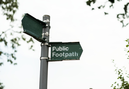 Public footpath sign Imagens